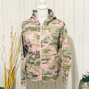 Lady Belle Camo Pink And Green Hooded Jacket